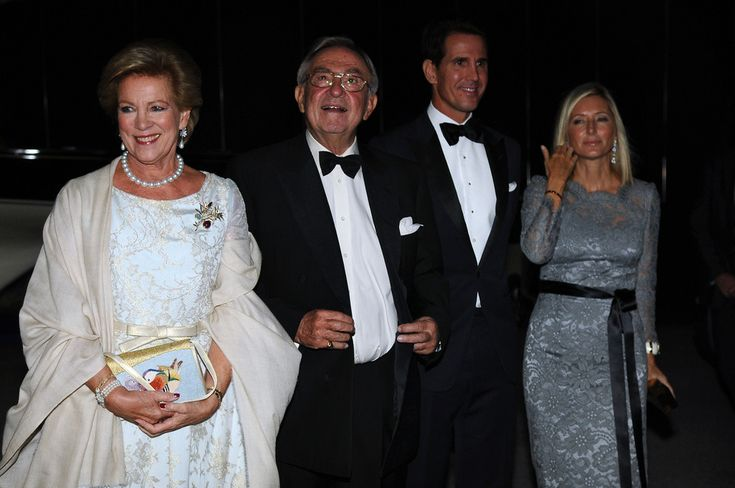 Former Queen Anne-Marie of Greece, former King Constantine II of Greece, Crown Prince Pavlos of Greece, Crown Princess Marie-Chantal of Greece, arrive for a private dinner organized by former King Constantine II of Greece and former Queen Anne-Marie to celebrate their Golden wedding anniversary at the Yacht Club of Greece in Piraeus, Greece, 18 September 2014.