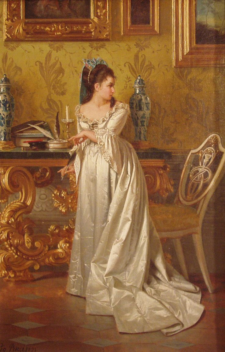 The Love Letter (1875). Pio Ricci (Italian, Academic, Classical, 1850-1919). Oil on canvas. The heroines of Riccis elegant paintings are often beautiful women wearing luxurious, silky fabrics. The Love Letter is a fine example of this artists ability to use the canvas to express suspense and emotion.