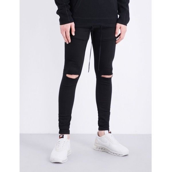 HERA Spray-on Ripped Knee slim-fit skinny jeans ($54) ❤ liked on Polyvore featuring men's fashion, men's clothing, men's jeans, mens distressed jeans, mens slim fit ripped jeans, mens super skinny ripped jeans, mens destroyed skinny jeans and mens patched jeans