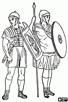 Infantry soldiers of the Roman Empire's army, the legionaries coloring page
