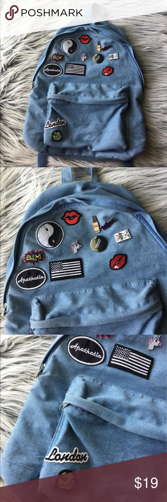 Unisex  jean backpack  with patches  EUCWill ship asapNo exchange or returnsAll sales are finalAll offers are welcomed Topman Bags Backpacks