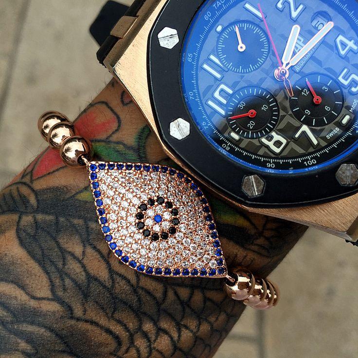 Mcllroy Gold Hamsa Fatima Hand Blue Turkey Evil Eye Bracelet Gold Women Bracelets Evil Eye Charms Bracelets & Bangles CZ Jewelry