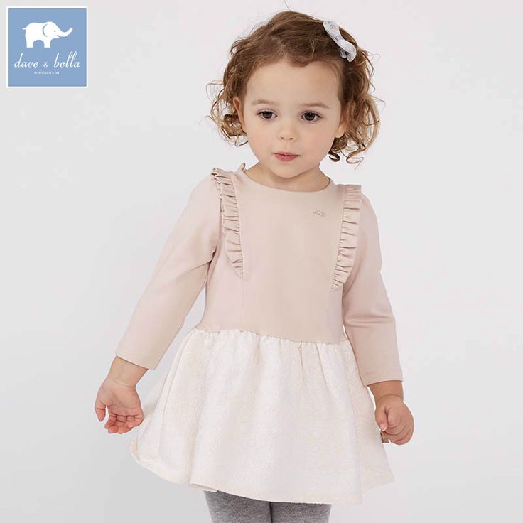 DB7622 dave bella spring infant baby girl's fashion apricot dress kids birthday party dress toddler children clothes
