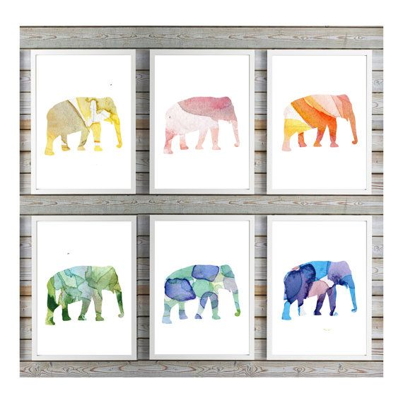 olifant kunst  Olifant aquarel  Set van 6 door Lemonillustrations
