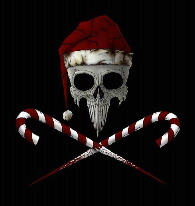Santa Skull Amp Sharpened Mwahaha Candy Cane Booooooooones