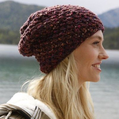 My Mountain Schachenmayr Pike's Peak (Free) in Hats at Webs | knitting slouch beanie pattern