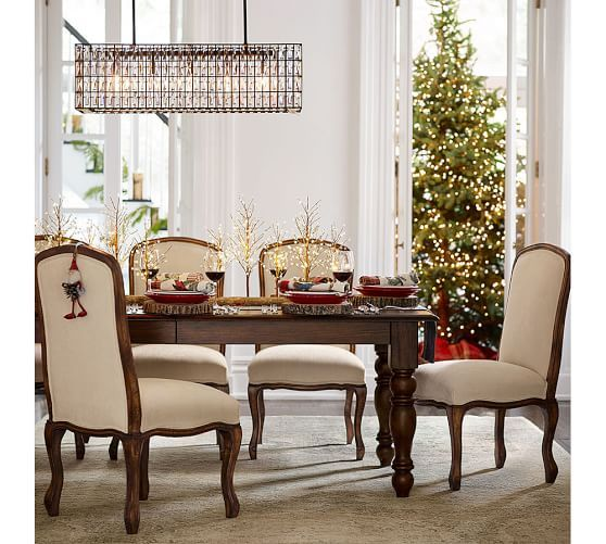 Adeline Crystal Rectangular Chandelier Dining Room