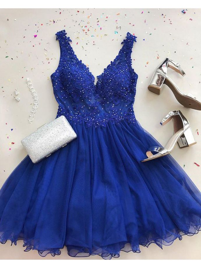 A Line V Neck Royal Blue Tulle Prom Dress, Sparkle Sleeveless Short Tulle Homecoming Dress, Mini Party Dresses
