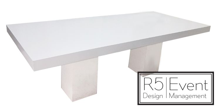 Sleek white table- available for rent from R5 Event Design