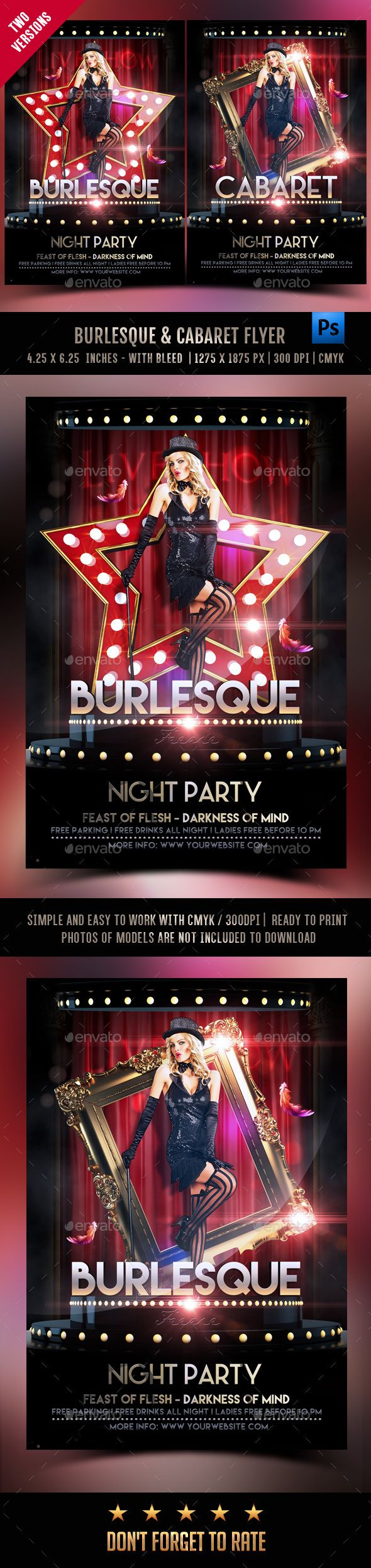 Burlesque And Cabaret Flyer — Photoshop PSD #feerie #red • Available here → https://graphicriver.net/item/burlesque-and-cabaret-flyer/17244562?ref=pxcr