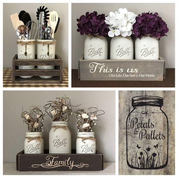 Rustic Fall Centerpiece For Dining Table, Fall Farmhouse Decor, Fall Mason Jar Centerpieces, Fall Decor, Fall Table Decor, Rustic Home Decor