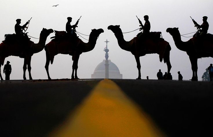 Indian soldiers from the Border Security Forces atop camels stand at attention in front of the Presidential Palace