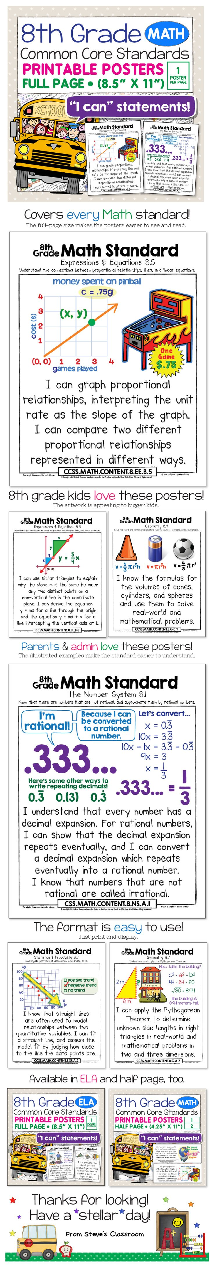 """These posters for the 8th grade math Common Core Standards bring the standard to life and make it easier to understand with age-appropriate illustrations and kid-friendly """"I can"""" language. Big, colorful, age-appropriate posters for the eighth grade math common core! $"""