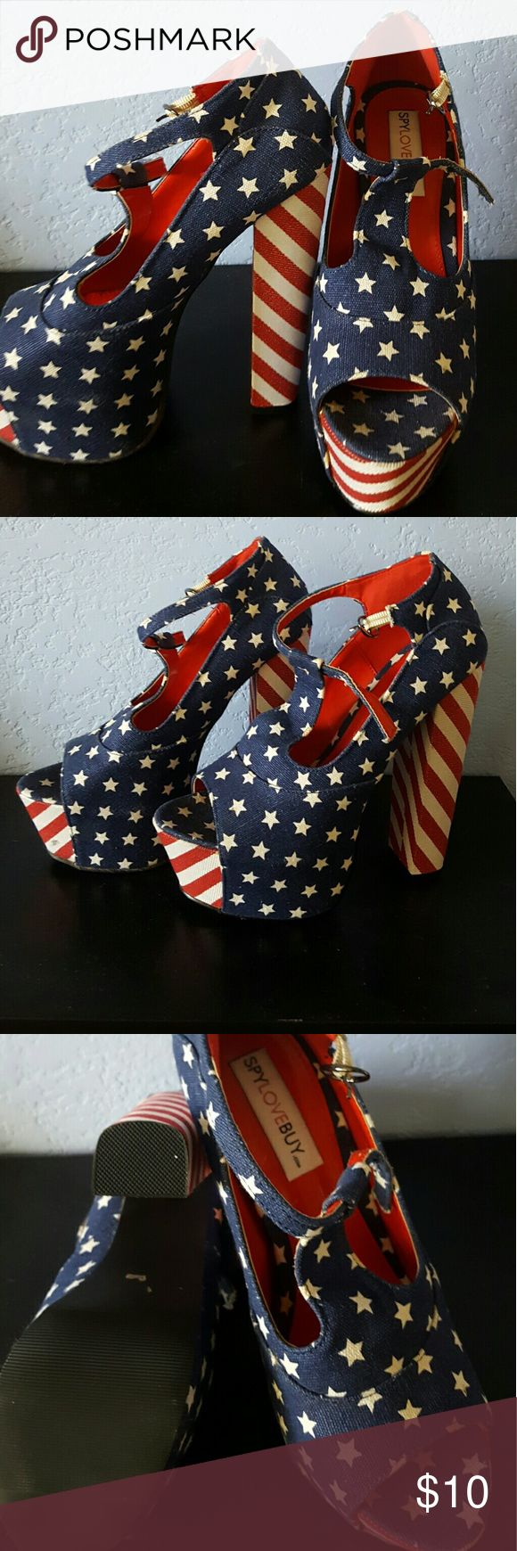 Wonder woman platforms Halloween Perfect Wonder Woman Halloween Costume or a rowdy 4th of July! These American flag platforms have never been worn. The platform measures 2 and a half inches and the heel is 6 inches so really about 4 inches with consideration of the platform height! Go for it! Shoes