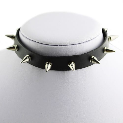 CHIC-PUNK-GOTH-ROCK-COLLAR-LEATHER-SPIKED-STUDDED-NECKLACE-EMO-FETISH-CHOKER-B1A