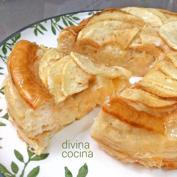 Para preparar este hojaldre de manzana, necesitaremos: 1 lámina de hojaldre – 3 manzanas – 1 tazón de crema pastelera (ver receta aquí) o 1 paquete de natillas de sobre preparado con sólo 1/2 litro de leche – un glaseado especial para tartas de manzana (tienes varias recetas en el blog AQUÍ) o unas cucharadas de mermelada de albaricoque