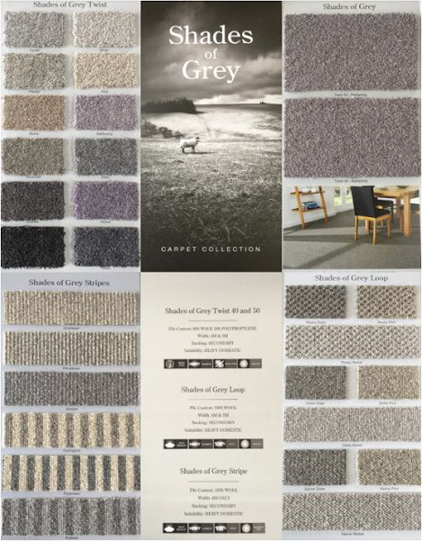 Shades Of Grey carpet collection, by Kingsmead Carpets, comes in 29 different shades of greys; in loops, twists and plains.
