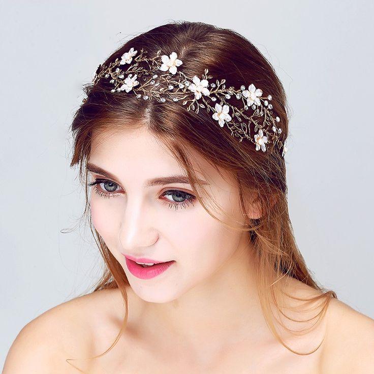 Vintage Gold Floral Wedding Accessories Bridal Headband Hair Jewelry Handmade Leaf  Headpiece Women Headbands