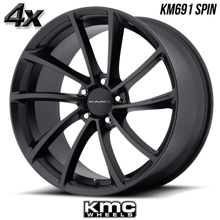 "4 KMC KM691 Spin 19""x9.5"" 5x112 Black OFST:35mm 19 Inch Rims 19X9.5 Wheels"