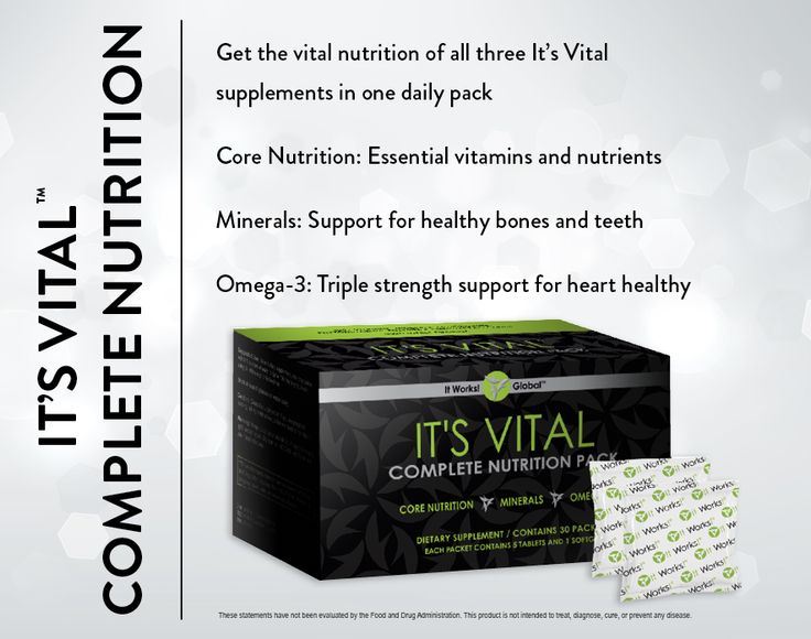It's Vital Complete Nutrition: Meet your vital needs with the essential vitamins, superior calcium absorption, and triple strength support for heart health of all three Its Vital supplements in one daily pack. www.brittanyhardin.myitworks.com