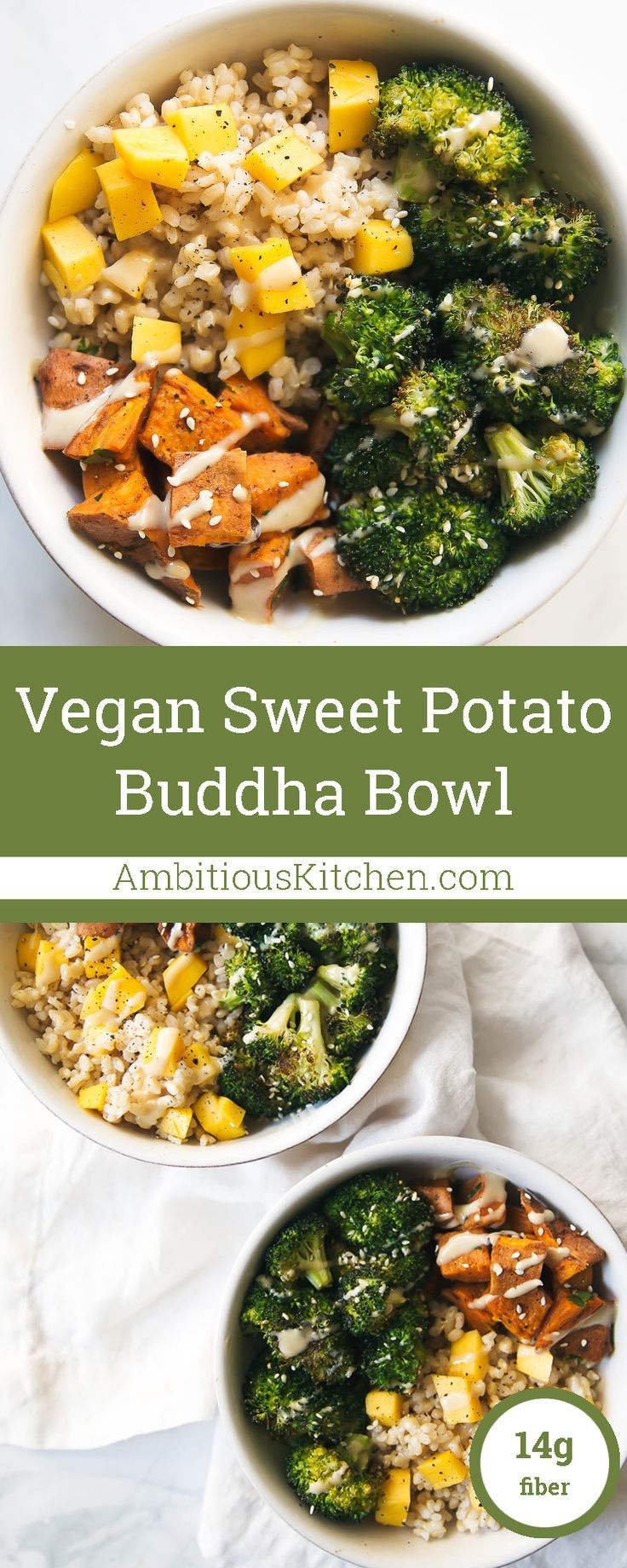 A nutritious make-ahead meal prep idea: sweet potato buddha bowl with the creamiest sweet almond butter dressing served over coconut brown rice! Vegan & gluten free!