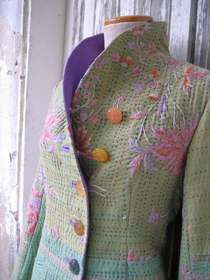 Quilted and embroidered jacket - Via indaliafashion.com - Katha embroidery - wow