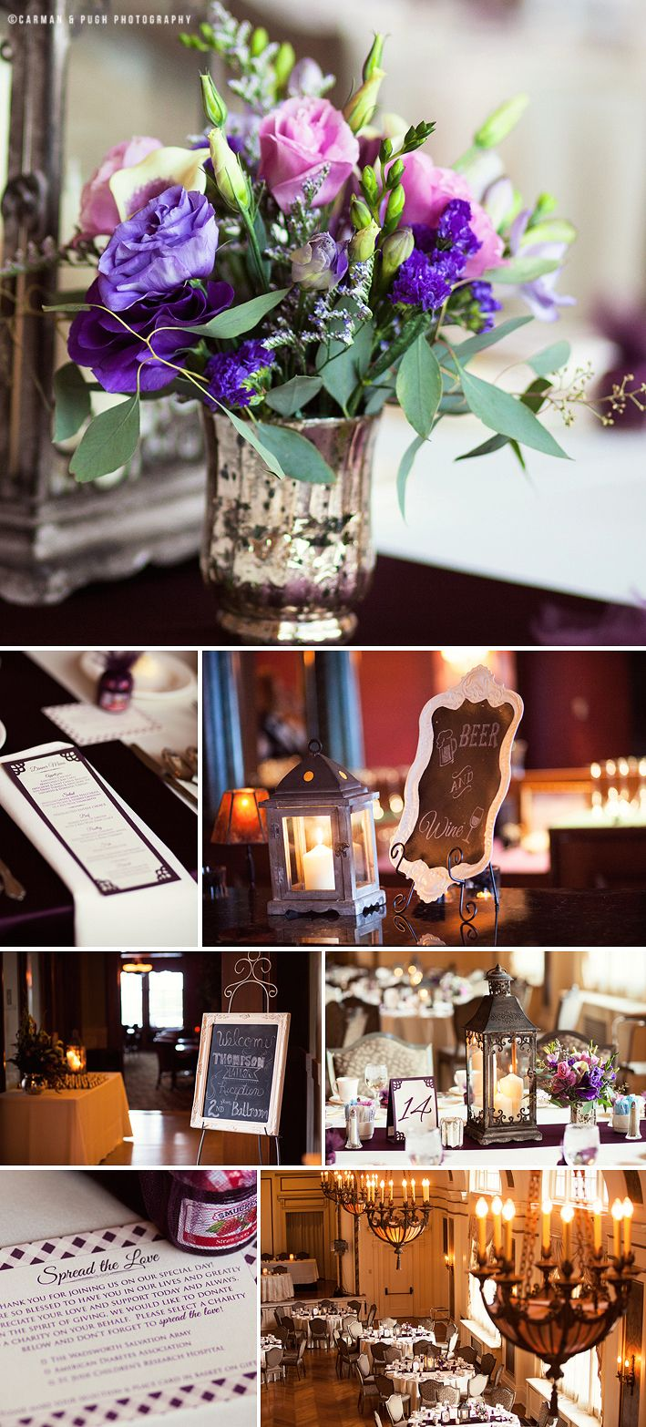 Wedding Reception Details At Greystone Hall In Akron Ohio Chalkboard Signs Purple Flowers