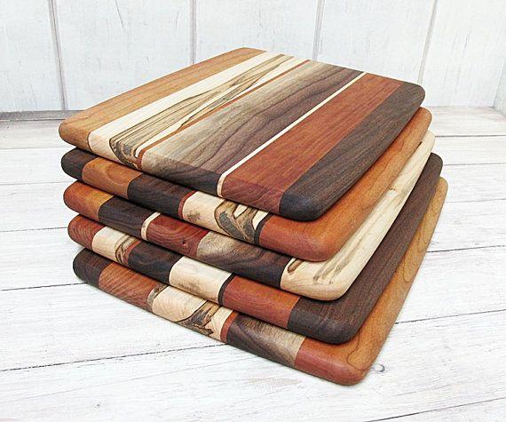 Wood Cutting Board, Random Layout, Walnut, Cherry & Ambrosia Maple Wood. Chopping board.