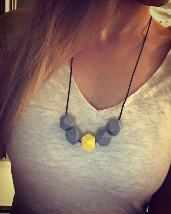 nursingnecklace sunny gray grey yellow / by ByPinja on Etsy
