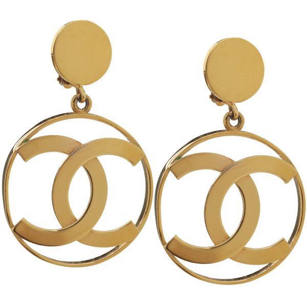 Large CHANEL Logo Hoop Earrings ($2,200) ❤ liked on Polyvore featuring jewelry, earrings, chanel, accessories, logo earrings, chanel jewellery, logo jewelry and chanel earrings
