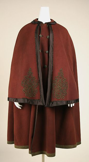 Cloak in unstated material, American or European, 1850's. The Met, accession nr. C.I.38.23.92