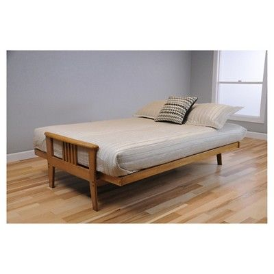 Christopher Knight Home Capri Butternut Futon with Drawers -Palance Steel (Silver) Full Innerspring Mattress