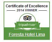 Certificado de Excelencia 2014 otorgado a Foresta Hotel Lima.  Ranking: dentro de los 10 mejores hoteles en Lima de un total de 200 hoteles.