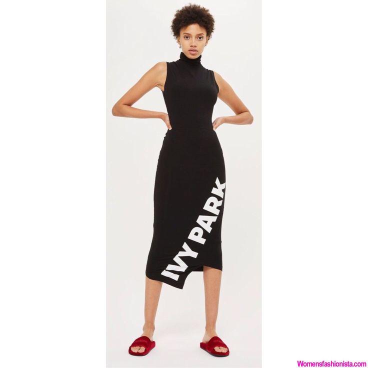 NWOT IVY PARK Beyonce Black High Mock Turtle Neck Asymmetrical Logo Midi Dress S