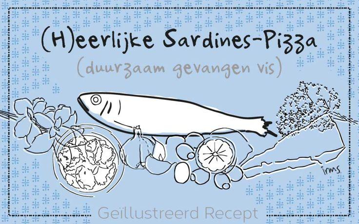 (H)eerlijke Sardines pizza, recept illustratie. Lekkere ingrediënten en verse kruiden. Heldere frisse kleur combinatie. Koken met duurzaam gevangen vis is extra lekker. Dit is een ontwerp voor een sardine verpakking.