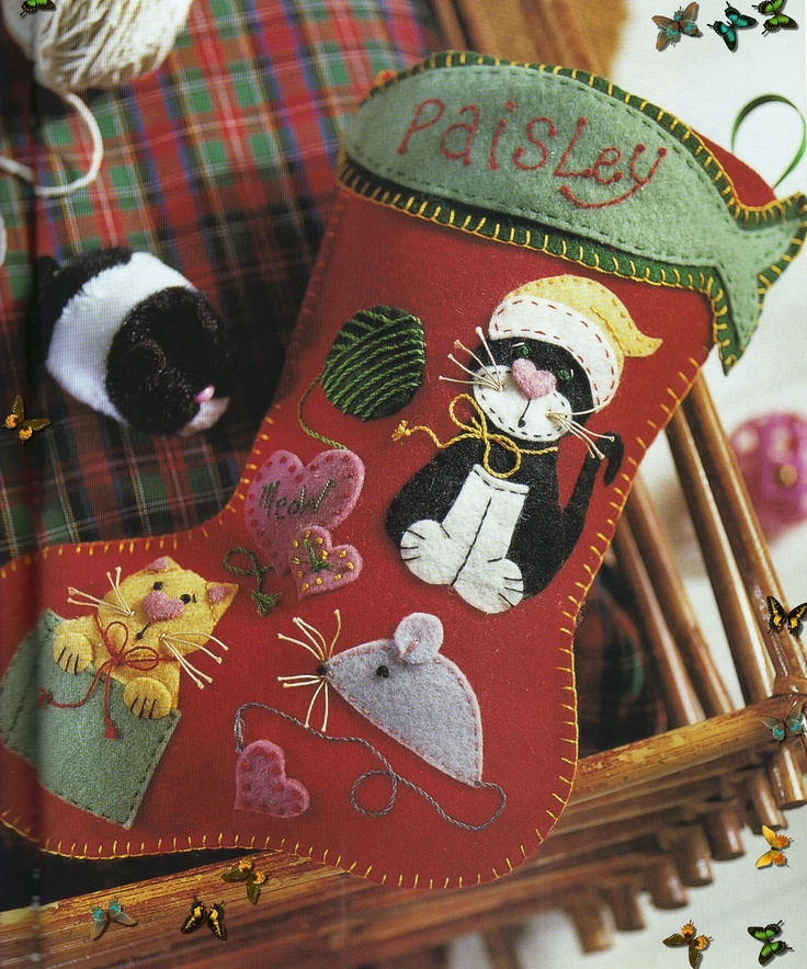 Wool felt Christmas stocking.  You have to search the site a bit, but there is a pattern and tutorial.  MANY cute ideas on this site!