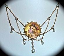 14k Art Nouveau Festoon Necklace Enamel Diamonds Pearls Rubies