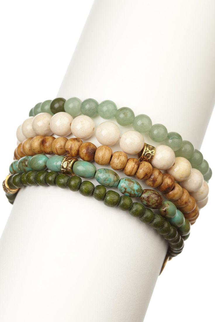 Green & Bone Bracelet Set