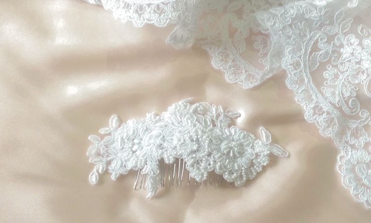 Elegant White Lace Hairpiece. Shop at www.etsy.com/shop/whitedesignsbyann