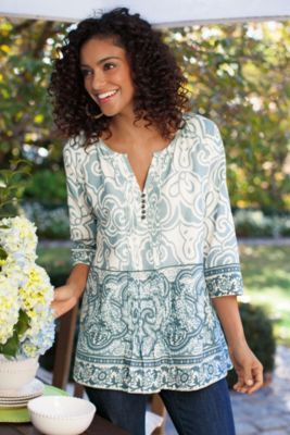 Cote D'azur Tunic I - Print Tunic, 3/4 Sleeve Tunic, Cotton Tunic Top | Soft Surroundings