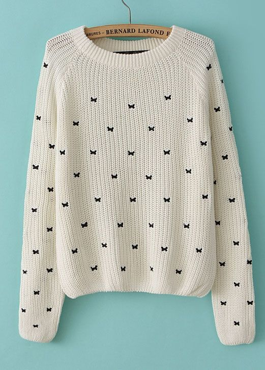 Beige Long Sleeve Bow Embroidered Pullover Sweater – Sheinside.com –