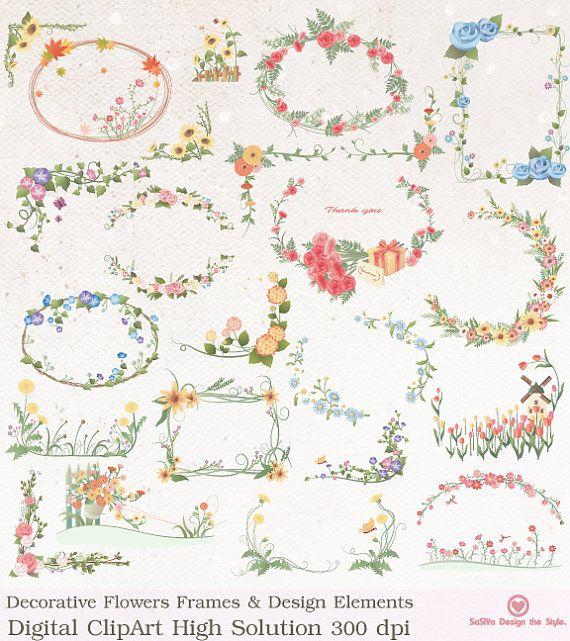 instant download decoration flowers frames wedding design elements