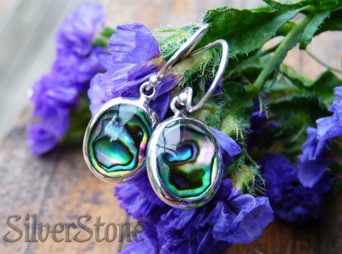 silver paua earrings simple style oval - $38