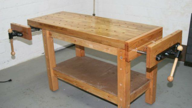 A standard workbench is simply a sturdy table, but a true woodworking workbench is built to secure wood of various sizes so you can saw, drill, and sand your project without it moving.