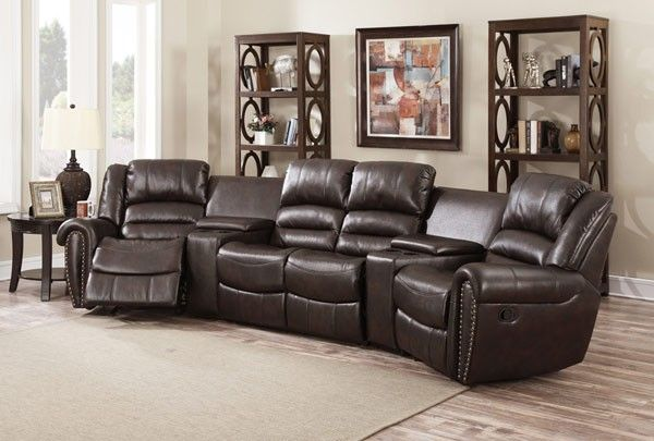 Myco Furniture - Abbie Brown Leather Air 4 Seats Recliner Theater Set - 1020-BR