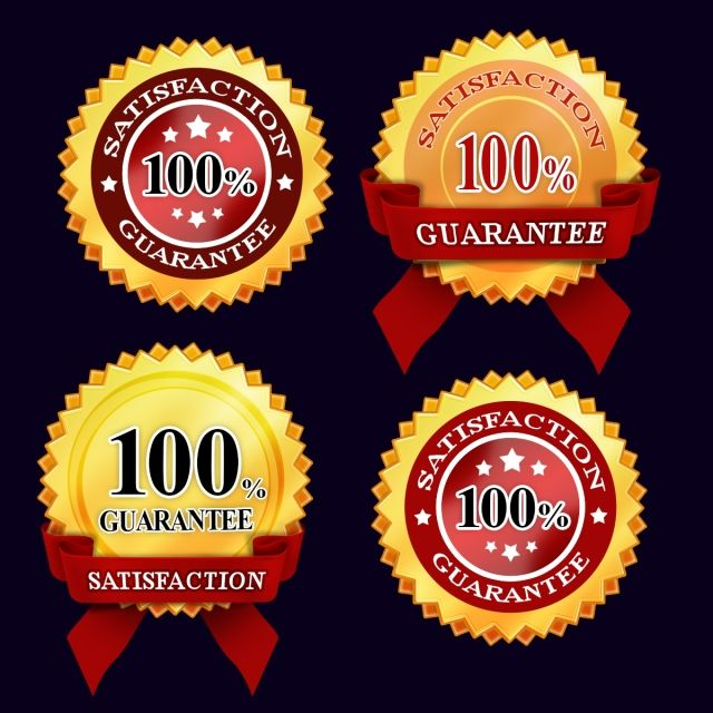 Golden Badges 100 Satisfaction Guarantee Badges With Red Ribbon Golden Guarantee Badges Png Transparent Clipart Image And Psd File For Free Download Red Ribbon Badge Ribbon Png