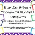Thank you for your interest in Chevron Task Card Templates! I hope these make your teaching and selling a little bit easier. Place a text box on top to add your information and you are set to go! Included are 40 landscape task cards in each of 9 colors: Deep Violet, Cherry Red, Cerulean Blue, Fresh Spring Green, Butter Squash Orange, Lemon Drop Yellow, Pistachio Green, Indigo Night, and Royal Blue.  The bundled set is a savings of $8.75!