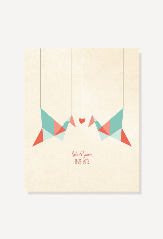 Paper Cranes Origami Birds personalized print