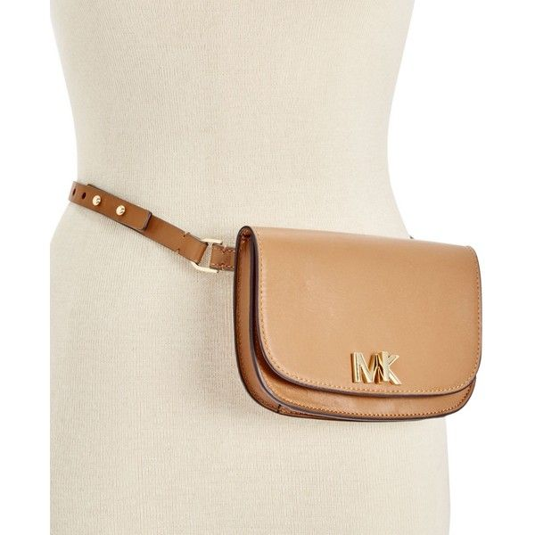 Michael Michael Kors Leather Turnlock Fanny Pack ($98) ❤ liked on Polyvore featuring bags, luggage, waist bags, leather fanny pack, michael kors, pink fanny pack and leather bum bag