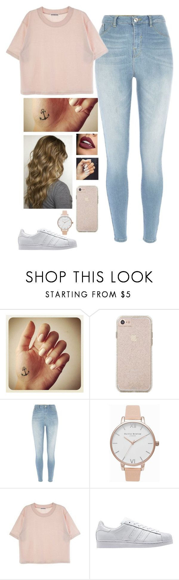 """Untitled #1396"" by troylerzalfie ❤ liked on Polyvore featuring River Island, Olivia Burton and adidas Originals"